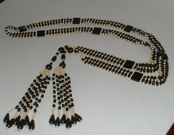 Original Antique FLAPPER DECO Celluloid Hand Beaded Long Necklace or Belt Black White FABUOUS