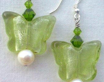 Green Butterfly Freshwater Pearl Swarovski Crystal Sterling Earrings