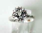 Two Carat White Topaz Engagement Wedding Ring 14k White Gold