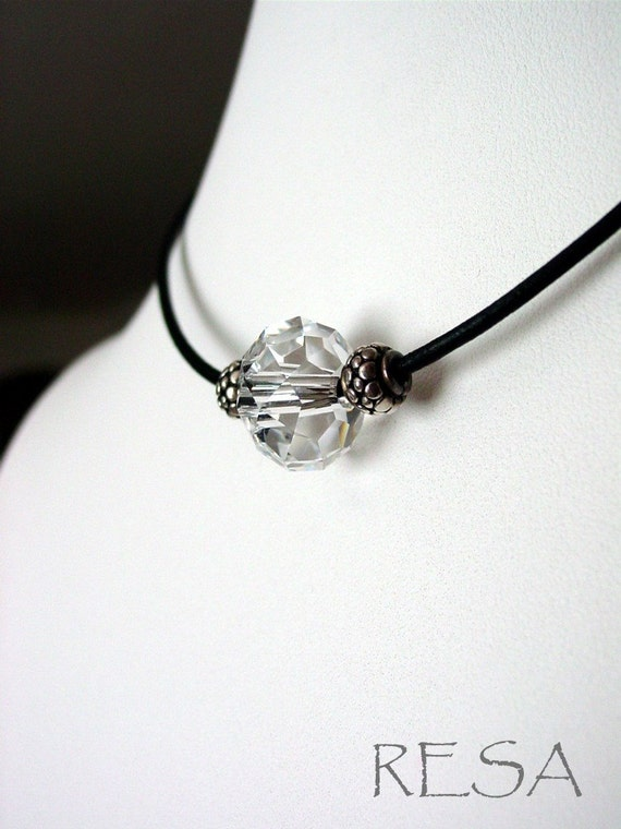 Spinning Crystal Choker Lrather Silver