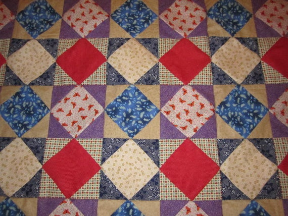 Square on Points Queen Quilt Top