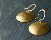 Gold Disk Earring, Hammered Jewelry, Simple Earring, Gift for Mom