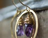 Amethyst Earring, Birthstone Jewelry, Purple Earrings,  Gold Hoop Earrings, Raw Amethyst