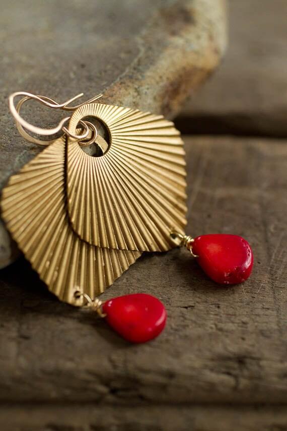 Gold Fan and Red Coral Teardrop Earrings