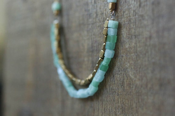 Mint Green and Brass Modern Necklace