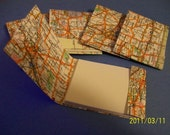 UPCYCLED outdated map matchbook note pads