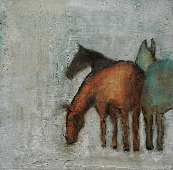 Winter Graze-  ABSTRACT HORSE PORTRAIT Giclee print from my original oil painting