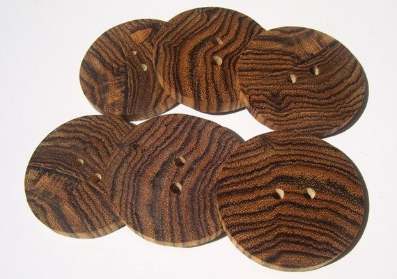 6 Beautiful Bocote Round Wood Buttons For your Knits, Crochet, or Craft Items - 1 3/4 inch  - 362