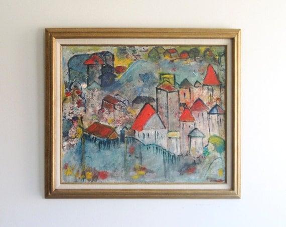 European Village Oil Painting Fauvist Post Impressionist  reduced