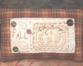 Primitive Fall Homespun Pumpkin pillow