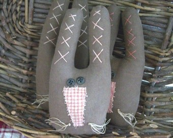 Brown Bunny primitive country bowl fillers ... set of 3...