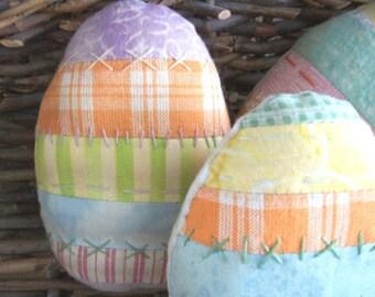 Primitive Patchwork Easter Egg bowl fillers   ...set of 3...