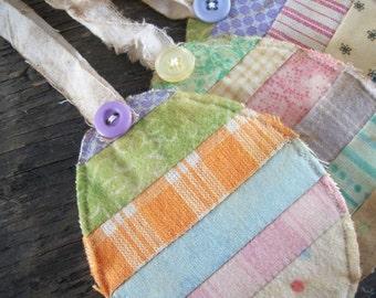 Easter Egg gift tags ... Primitive Patchwork ...set of 5...