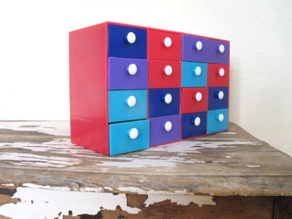 vintage desk organizer box / COLORBLOCK POP