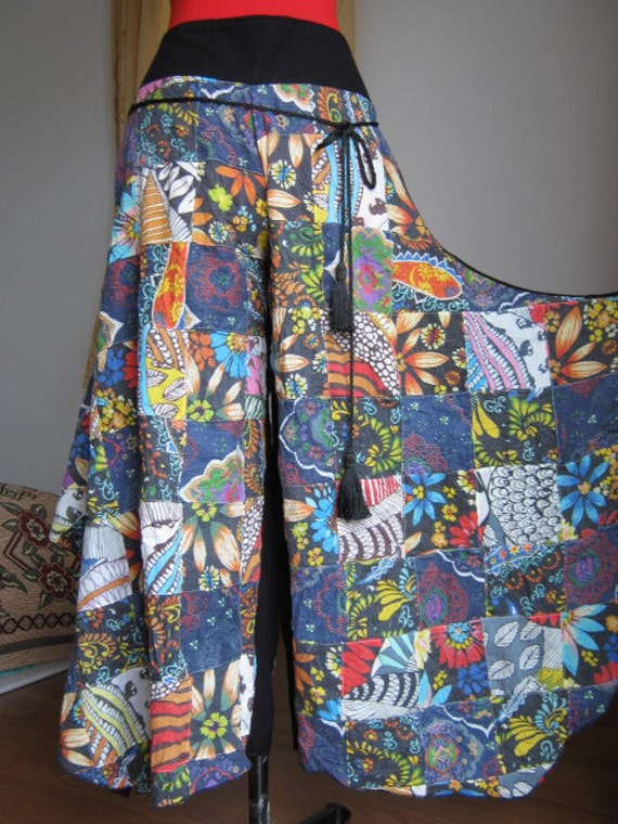 A remarkable difference by patchwork cotton pants.