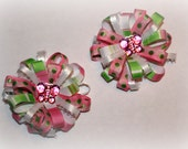 Set of 2 girls butterfly loopy boutique pigtail bows