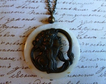 Vintage button and shell necklace.