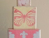 BLOCKS Butterfly Nursery Decor Baby Girls Pink Yellow Plum Vintage White Damask Stackable Stacking Shabby Chic - LAST SET