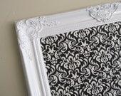ESCORT CARD HOLDER Wedding Black and White Damask Framed Magnet Board Bulletin Board Memo Board Nursery Wall Decor Black White Damask
