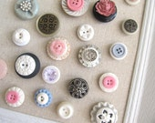 50 Extra Button MAGNET or PUSH PIN Collection Set with Vintage Buttons
