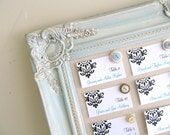 Framed Magnet Board  Wedding ESCORT CARD HOLDER Picture Display Table Cards Shabby Chic Robins Egg Blue Wood Sign Decor
