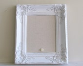 Christmas Gift MAGNET BOARD Ornate Picture Frame Shabby Chic Wedding Sign Nursery Vintage Distressed Decor Bridesmaids Gift Fabric Board