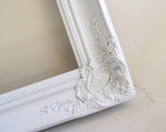 Ornate Frame Shabby Chic Picture Frame Large Baroque Collage Vanity Mirror Gesso Wedding Photo Prop 20inx30in - YOUR COLOR CHOICE