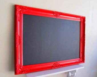 RED FRAMED CHALKBOARD Red and Black Wedding Decor Restaurant Menu Kitchen Chalkboard Baroque Frame Wedding Menu 26inx36in