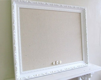 FRAMED MAGNET BOARD Shabby Chic Wedding Sign Nursery Wall Decor French Country Picture Frame Photo Prop Bulletin Board - MoRE CoLORS