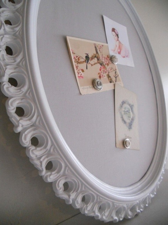 New Item --- 20inx24in Vintage Antique Oval Grey and White Magnetic Board