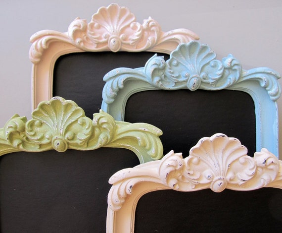 CHALKBOARD Pastel Decor Picture Frame Photo Prop Spring Baby Shower Sign Birthday Party Decoration Blue Green Pink Ivory - MORE COLORS