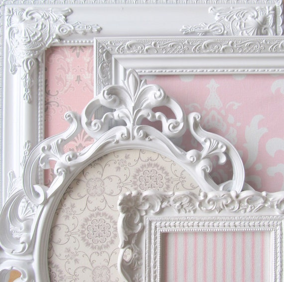 COLLECTION of MAGNET BOARDS Shabby Chic Nursery Vintage Shades of Pink, Grey and White Ornate Magnetic Boards Set