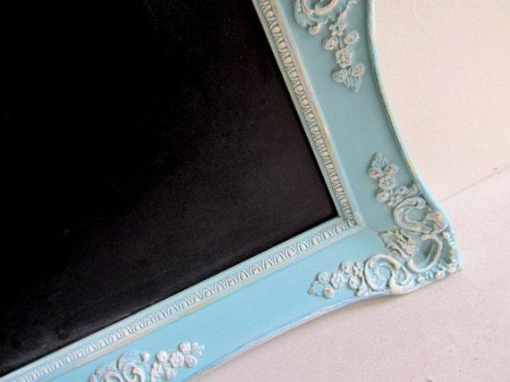 TURQUOISE CHALKBOARD Wedding Sign Kitchen Chalkboard Framed Chalk Board Wedding Decor Turquoise Vintage Blue Vintage Magnet Board