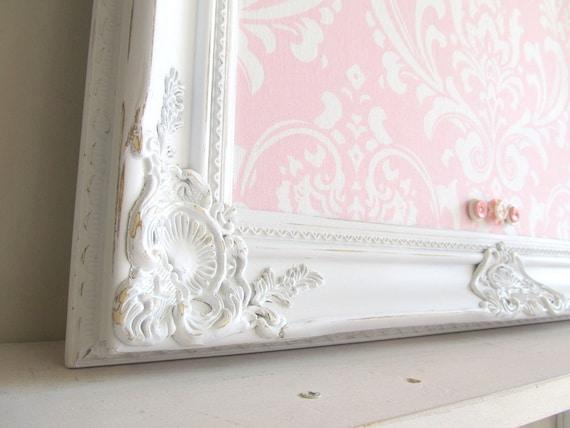 MAGNET BOARD Pink White Damask Wedding Nursery Decor Shabby Chic Framed Bulletin Board Ornate Vintage Distressed Ornate 22inx26in