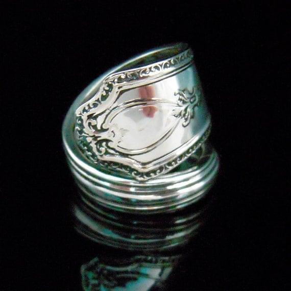 Antique Silver Spoon Ring - R & B