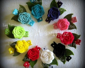 Felt flower clip w/leaves & polka dots-U Pick One-made by Maddie B's Boutique on Etsy