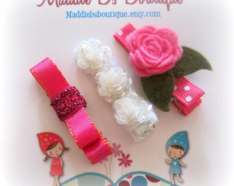 Beautiful Pink felt flower clip 3 Pack sparkle Christmas Gift  Birthday Made by Maddie B's Boutique on Etsy