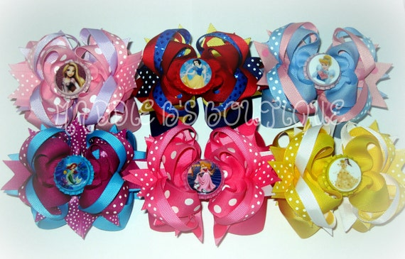 NEW Disney Hair Bow U PICK 2 Snow White Belle Cinderella Aurora Ariel Rapunzel Christmas  OTT hair bows made by Maddie B's Boutique on Etsy