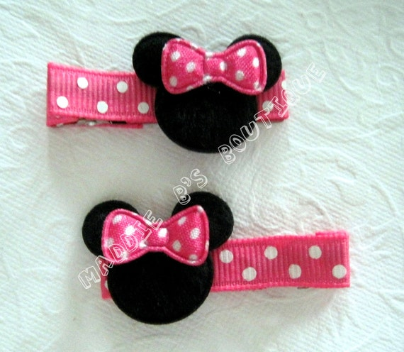 NEW- Pink Bubble gum Pink Polka Dot Minnie Mouse Clip Combo Set Mouse Head-Great For Disney Party Favor-Made by Maddie B's Boutique on Etsy