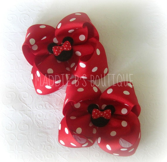 Back To School-Great for Disney Vacation-Red polka dot Minnie Mouse hair bows-pigtail bows-Made by Maddie B's Boutique on Etsy