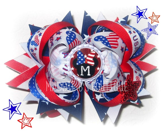 USA 4th of July Mickey Minnie Mouse Initial stacked boutique hair bow Red White Blue Disney made by Maddie B's Boutique on Etsy