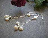 Sterling Silver Freshwater Pearls Dangle Earrings - Romance