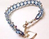 Aqua Blue Bead Woven Bracelet, Sterling Silver Swarovski Crystal Bracelet
