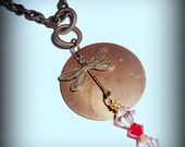 Brass Dragonfly Charm Pendant Necklace Red, Pink, Wire Wrap Swarovski Crystals - Hope