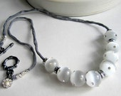 Cats Eye Gemstone Necklace, Beaded Handmade Necklace Charcoal Silk with Silver Rhinestone Jewelry