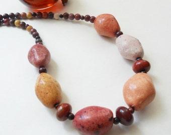 Beaded Necklace,Ceramic Stones, Red Tigereye, Jasper Gemstone Necklace - Autumn Splendour