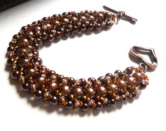 Beadwoven Bracelet Handmade Coffee Brown Pearl Bracelet, Seed Beads and Copper - Shimmer