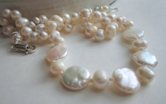 Coin Pearl Necklace White Pearl Wedding Jewellery Hand Knotted Pearl Necklace