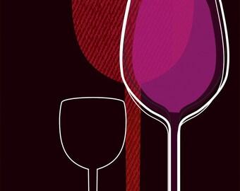 Wine glasses 8x10 kitchen art print