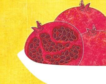 Pomegranates in bowl 8x10 kitchen art print